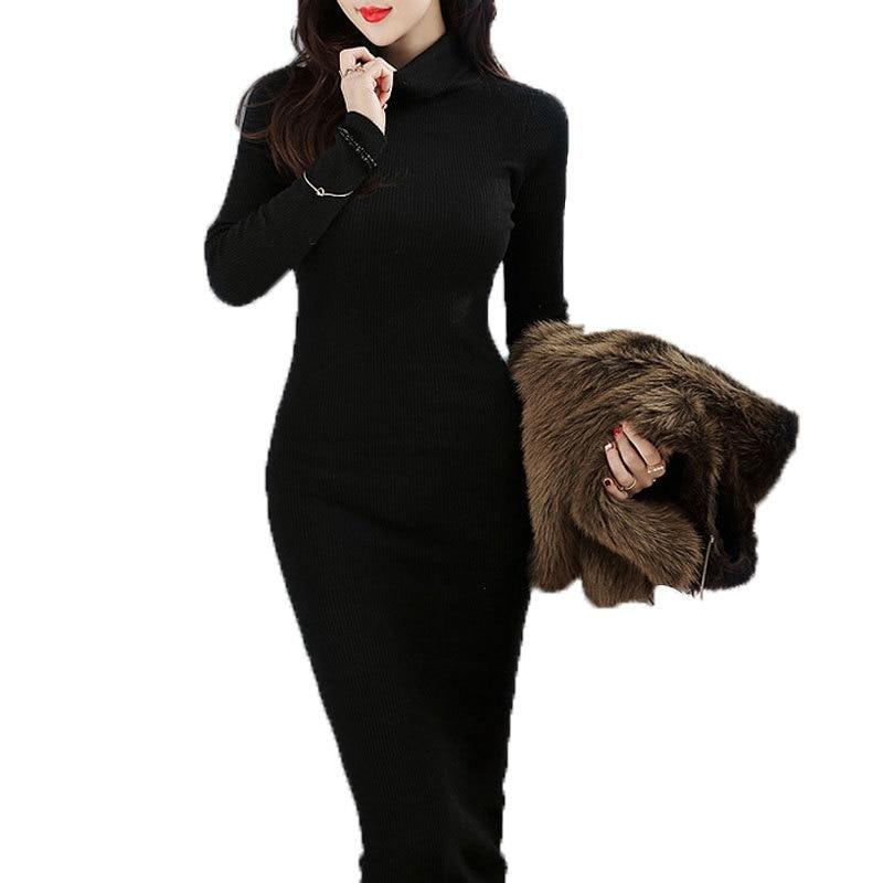 US $20.91  Plus Size Long Sleeve Slim Elegant Warm Knit Skinny Bodycon Maxi  Dresses 2016 Winter Women Black Turtleneck Long Sweater Dress-in Dresses ...
