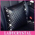 Ladycrystal High Quality PU Leather  Hold Pillow Case Diamond Crystal Rhinestone Car Sofa Cushion Cover