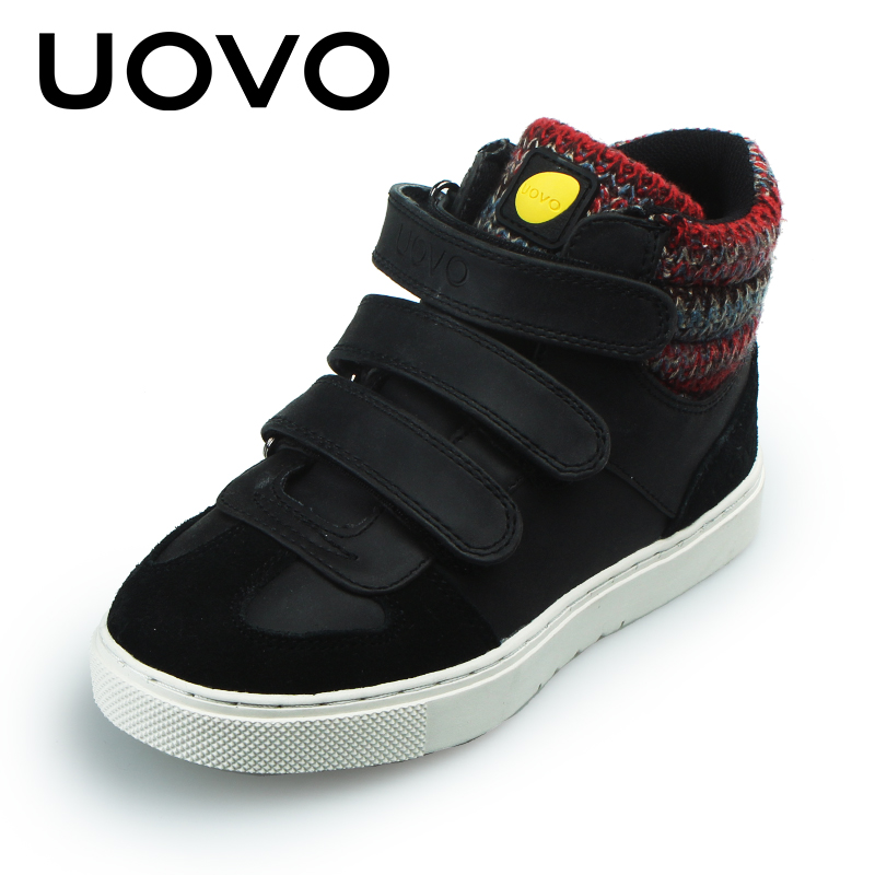 UOVO Brand Kids Shoes Autumn Winter Kids Sport Shoes Black Sneakers For Boys And Girls Casual Shoes Rubber Sole Size 30#-39# uovo 2018 summer breathable kids running shoes fashion brand boys and girls casual shoes mesh sport shoes sneakers size 31 37