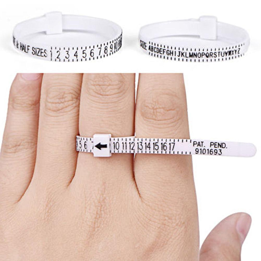 Plastic Ring Size Ruler Gauge Jewelry Finger Circle Surrounding Measuring Tool