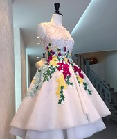 New Fashionable White Beading Lace Appliques Short Front Low Back Colorful Flowers Prom Dresses Ball Gown