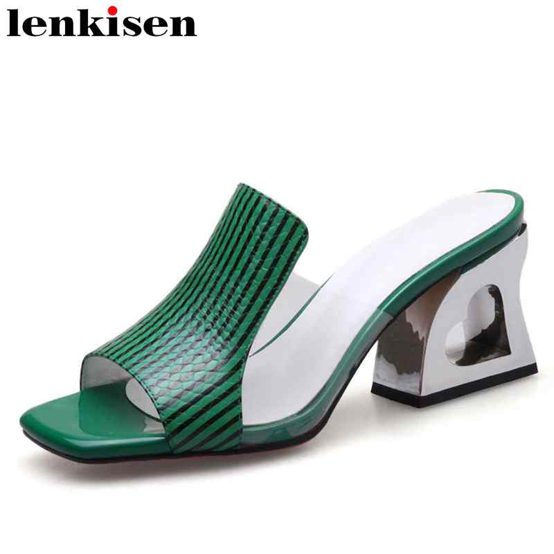 Lenkisen cow leather peep square toe mules solid striped slip on high fretwork heel nightclub holiday woman big size sandals L82Lenkisen cow leather peep square toe mules solid striped slip on high fretwork heel nightclub holiday woman big size sandals L82