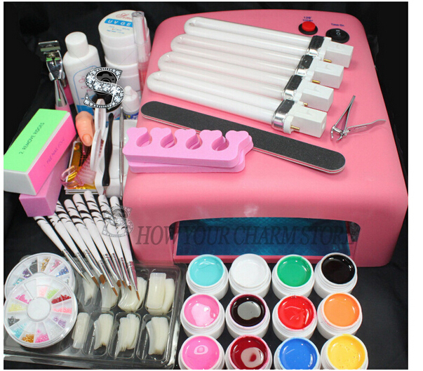 Wholesale set for nail gel nail tools 36W Timer Dryer Lamp Decorations Kit manicure acrylic nail kit UV Curing Dryer Lamp Light