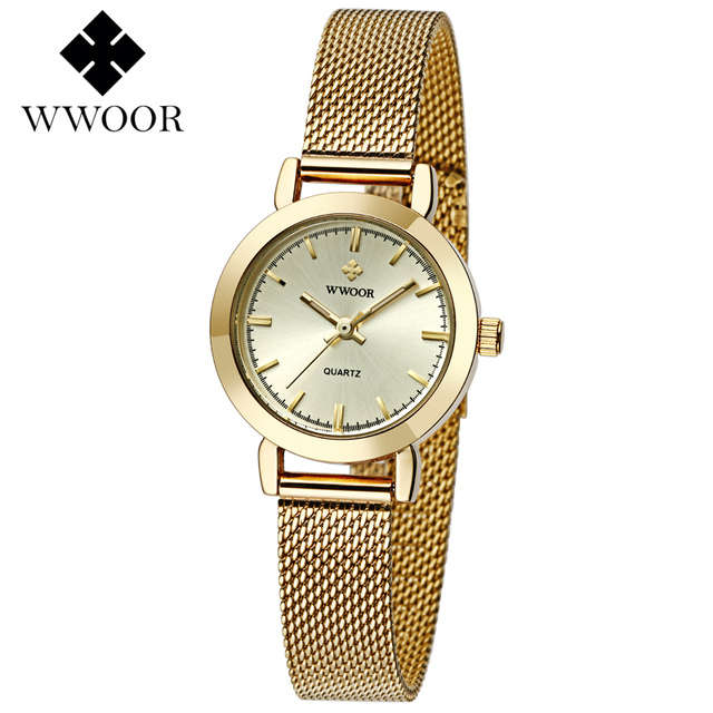 be41014915e WWOOR Mulheres Relógios Top Marca de Luxo Da Banda De Malha De Aço  Inoxidável de Ouro
