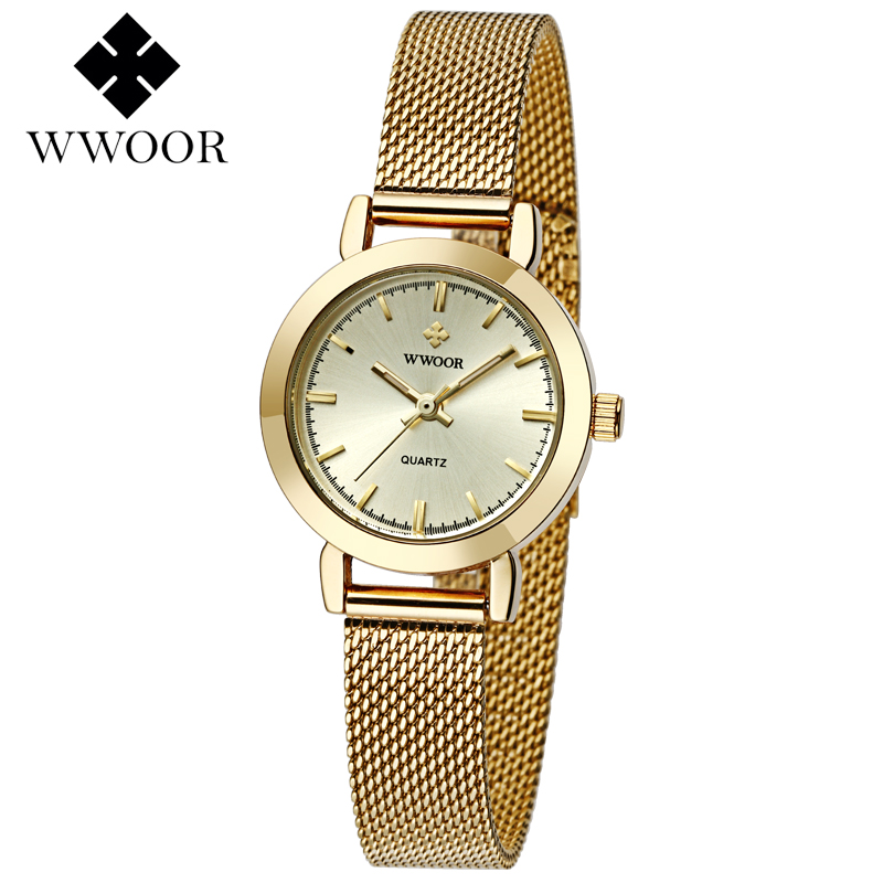 WWOOR Women Watches Top Brand Luxury Stainless Steel Mesh Band Gold casual Watch Ladies Business quartz watch Relogio Feminino 2017 julius brand ladies women dress watches thin quartz watch steel mesh band luxury gold bracelet wristwatch relogio feminino