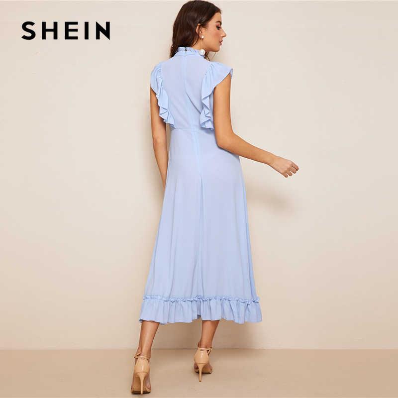 SHEIN модное платье с оборками и расклешенным подолом синее Пастельное платье с воротником-стойкой женский платье весенне-летние однотонные платья без рукавов