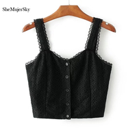 SheMujerSky Women Lace Camis Sleeveless Camisole Bralet Bustier Buttons Short Crop Top Tanks Brief Vest T