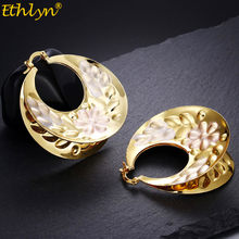 Ethlyn Bridal Gold Colorful Jewelry Ladies Fashion Big Round Earrings Senegal Engagement Wedding Best Gift E172(China)