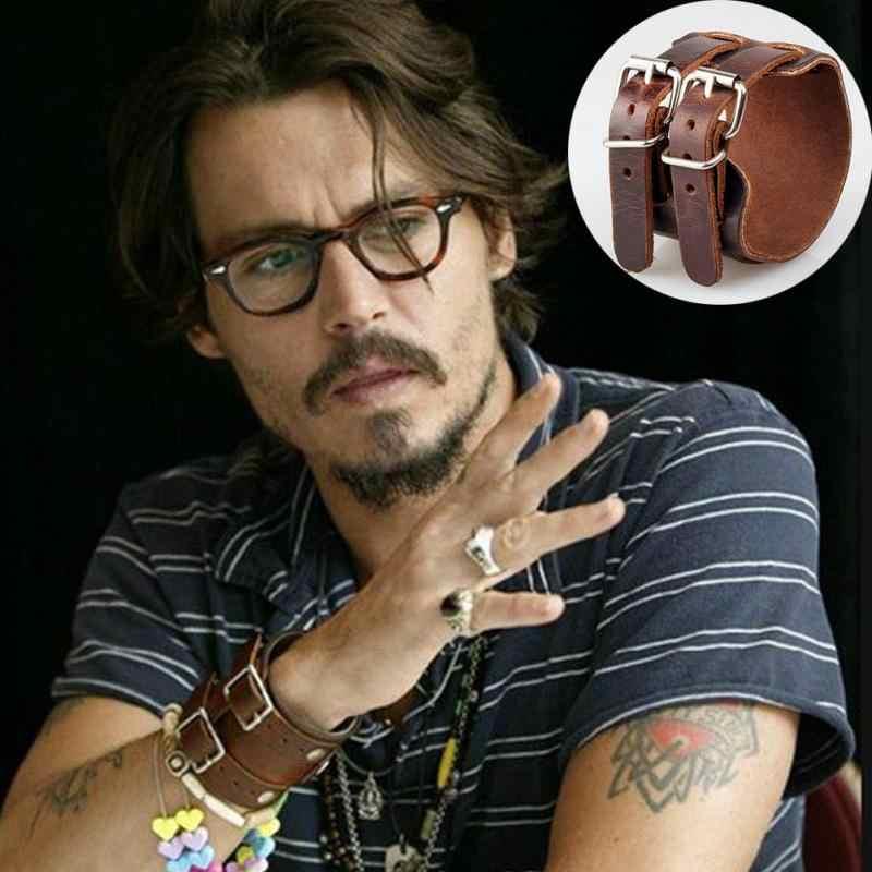 Brazalete de cuero para hombre, brazalete Punk y brazaletes, regalos, pulsera, cinturón, pulsera de moda Johnny Depp, pulsera Masculina, bisutería Masculina #05