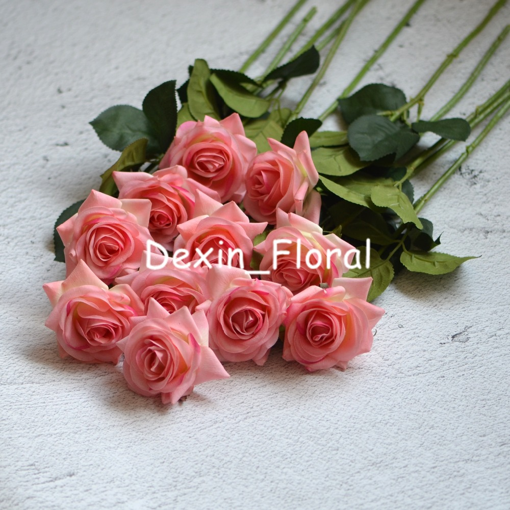 Pink rose Real Touch Silk Roses DIY Silk Bridal Bouquets Wedding ...