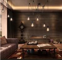 Лофт Эдисон шкив подвесной светильник с 5 светильники клетка Тенты Винтаж промышленных лампы Lamparas подвесной светильник