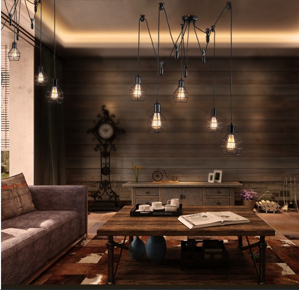 Loft Edison Pulley Pendant Light Fixtures Cage Shade Vintage Industrial Lamp  Lamparas Suspension Luminaire For Home
