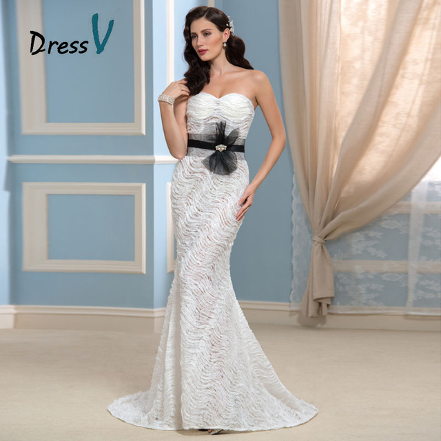 2016 New Sexy Black And White Mermaid Lace Wedding Dresses See