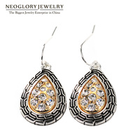 Neoglory Antique Silver Gold Color Plated Teardrop Drop Earrings For Women Rhinestone Allergy Free Fashion Jewelry