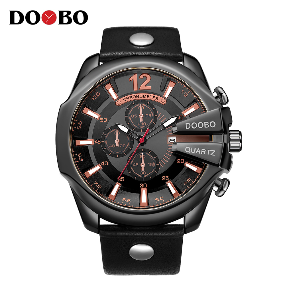 2018 Fashion Brand Luxury DOOBO Gold Sports Quartz Watches Men Male Military Army Steel Clock New Fashion Casual Wrist Watches weide new men quartz casual watch army military sports watch waterproof back light men watches alarm clock multiple time zone