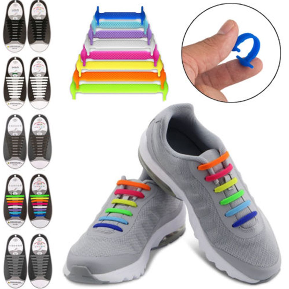 16pcs/lot Unisex Lazy Athletic Running No Tie Shoelaces Women Men Elastic Silicone Shoe Lace All Sneakers Fit Strap 2017 men shoelaces athletic no tie shoelaces men shoes laces lazy elastic silicone shoe lace sneakers fit strap free shipping
