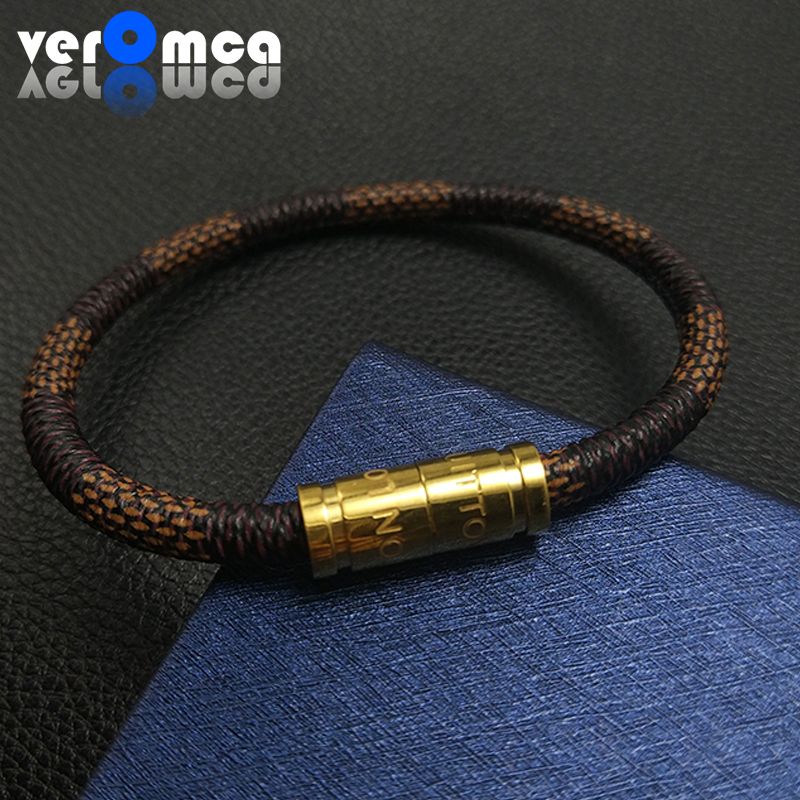VEROMCA Leather Bracelet Stainless Steel Bracelets Men Jewelry High Quality Charms Bracelets jewelry Magnetic Bracelet duoying 40 4 mm bar bracelets rope custom name bracelet personalize string bracelet friendship family bracelets jewelry for etsy