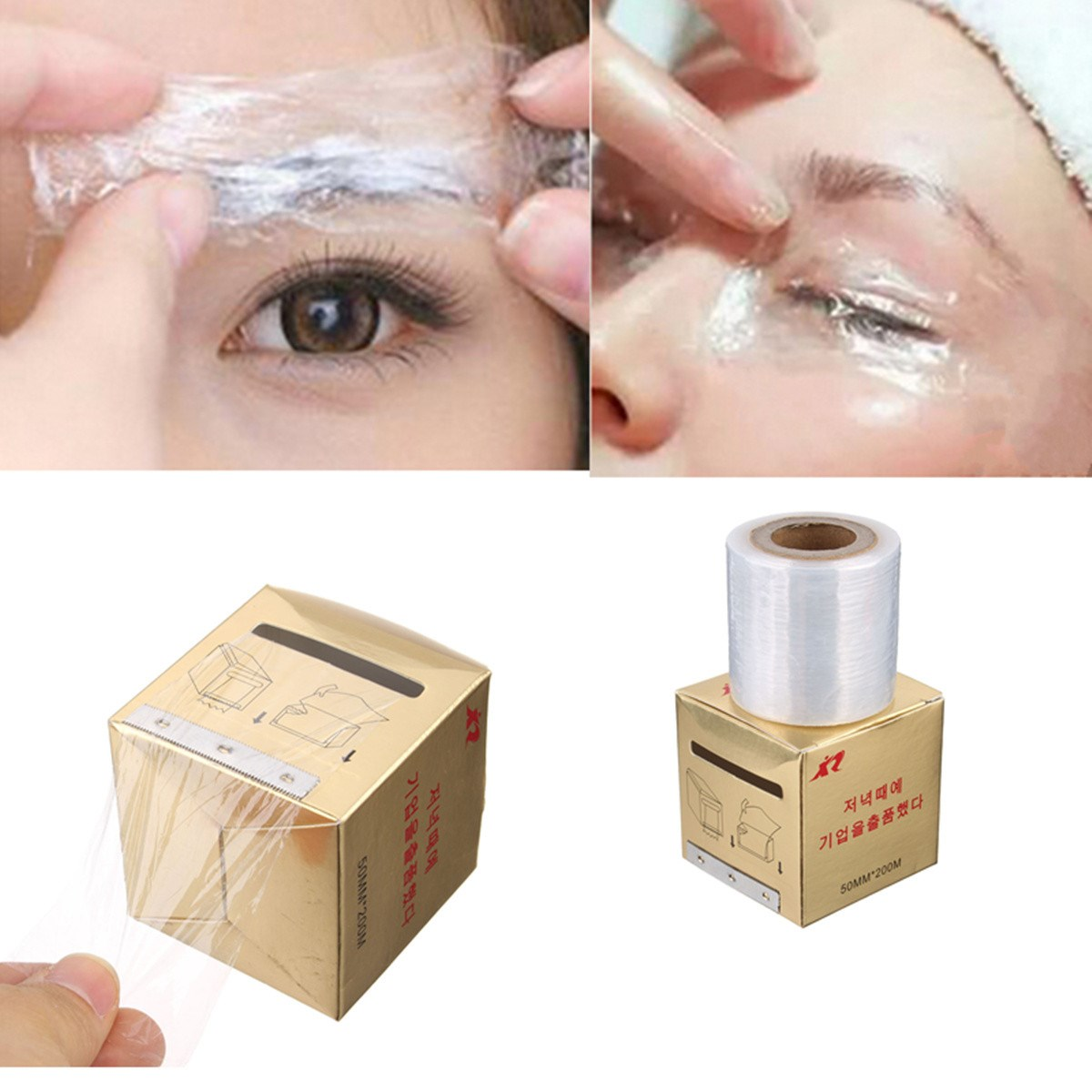 New 1Box Tattoo Plastic Wraps Cover Preservative Film Semipermanent Makeup Tattoos Eyebrow Liner Tattoo Accessory 50MM