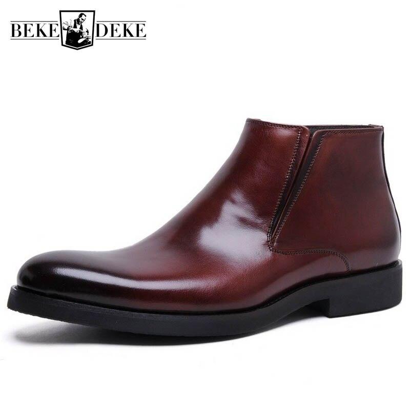 Осенняя обувь из натуральной кожи с высоким берцем; мужская деловая модельная обувь; удобные итальянские дизайнерские ботильоны с острым н