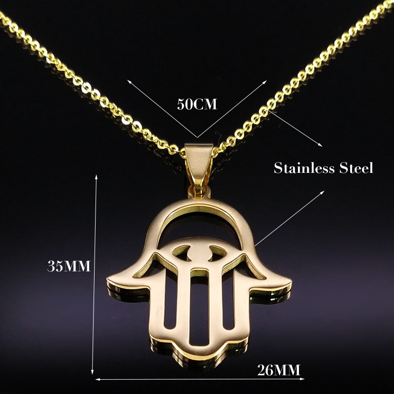 2019 Hamsa Hand Stainless Steel Chain Necklace for Women Gold Color Necklaces Pendants Jewelry gargantillas mujer moda N1850 in Pendant Necklaces from Jewelry Accessories