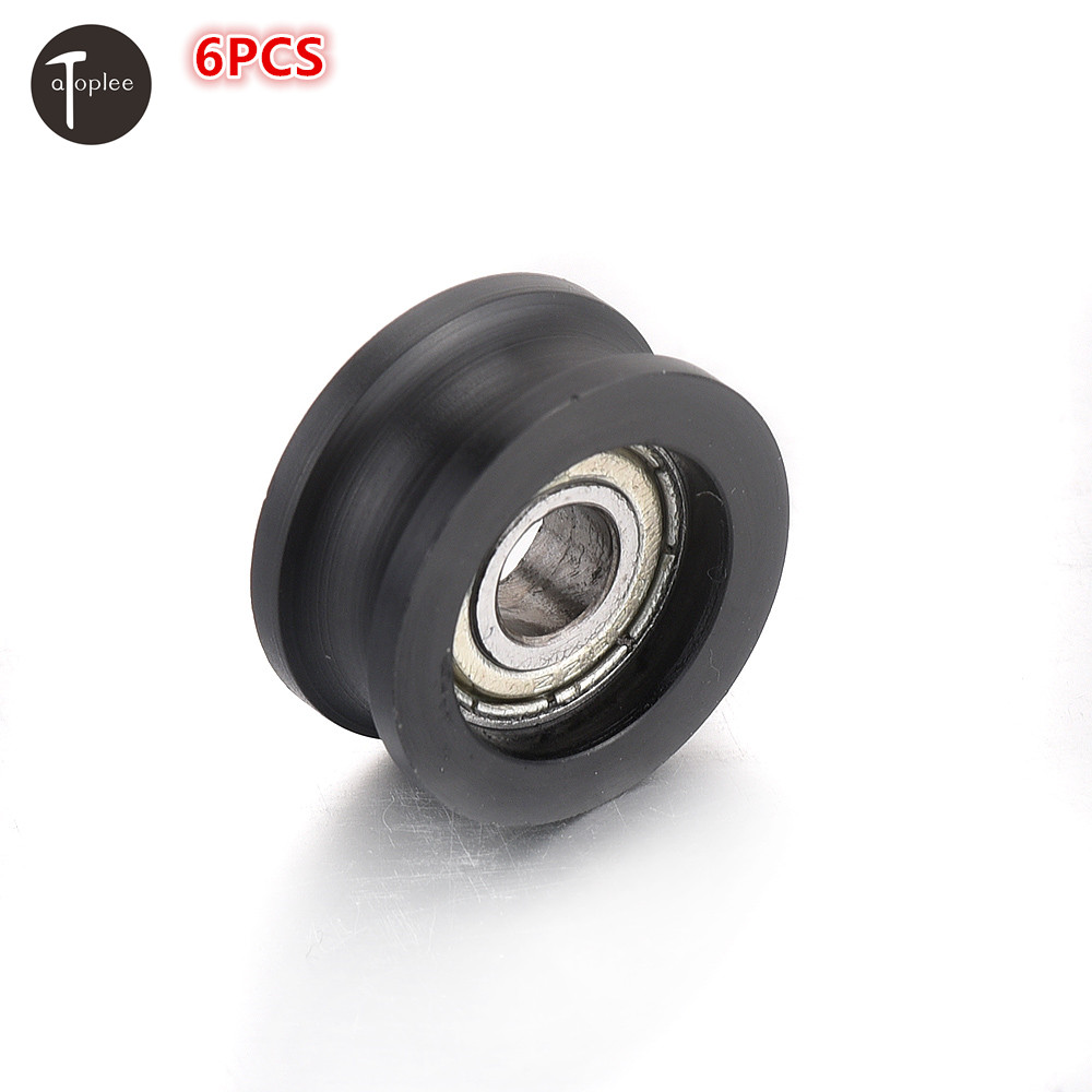 Dashing 6pcs Mini Embedded U Grooved Guide Pulley Sealed Rail Ball Bearing 6x21x10mm High Carbon Steel For Doors Windows Drawers