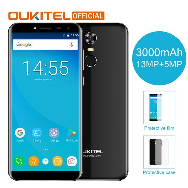 """Oukitel C8 5.5 """"18:9 תצוגת אינפיניטי אנדרואיד 7.0 MTK6580A Quad Core Smartphone 2G RAM 16G ROM 3000 mAh טלפון נייד טביעת אצבע"""