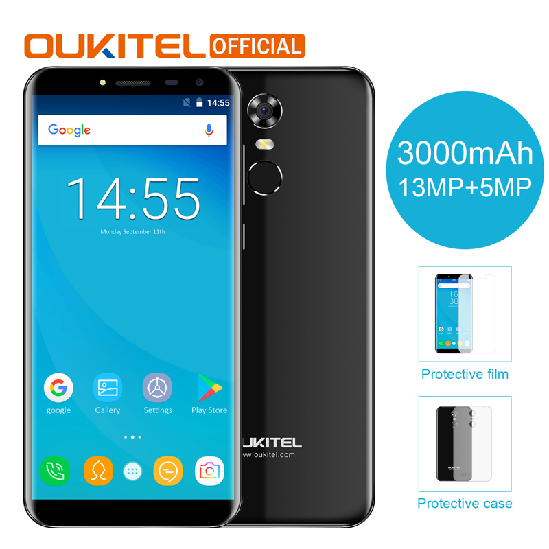 """Oukitel C8 5.5 """"18:9 Бесконечность Дисплей Android 7.0 mtk6580a 4 ядра смартфон 2 г Оперативная память 16 г Встроенная память 3000 мАч отпечатков пальцев мобильный телефон"""