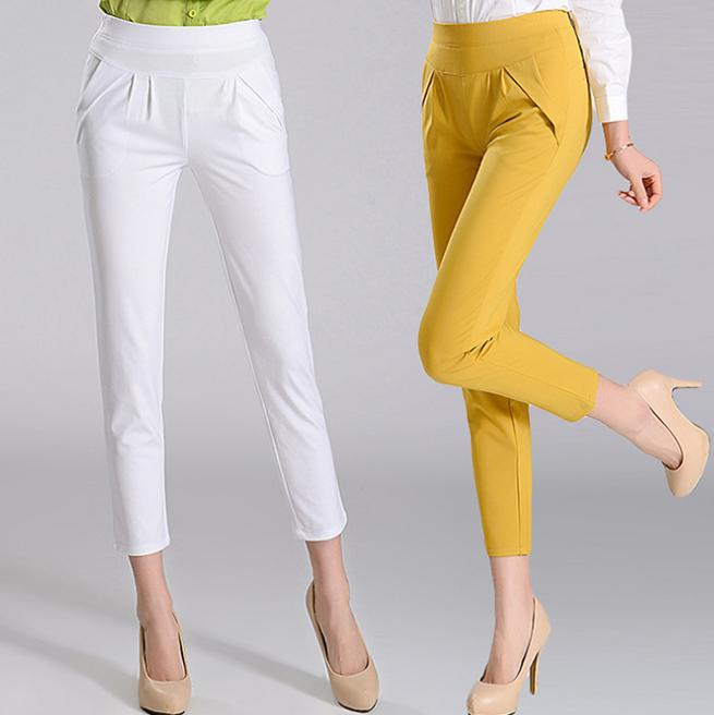 2016 spring and summer elastic waist   pants   women   Capris   pantyhose casual trousers pencil   pants