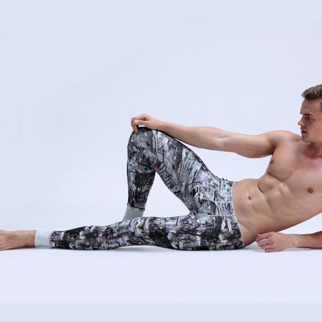 Masculino térmica calzoncillos largos apretados bajo la cintura ultra el elástico tergal impresión calzoncillos masculinos legging pintura en tinta China