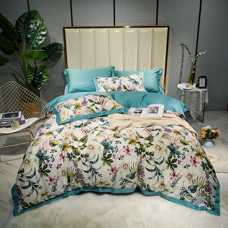 Watercolor Botanical Floral Leaves Duvet Cover Set Sateen Cotton Ultra Soft Bed sheet Queen King size