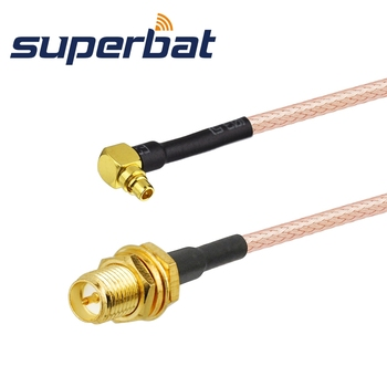 Superbat RP-SMA Jack (male pin) to MMCX Plug Right Angle Pigtail Cable RG316 1M