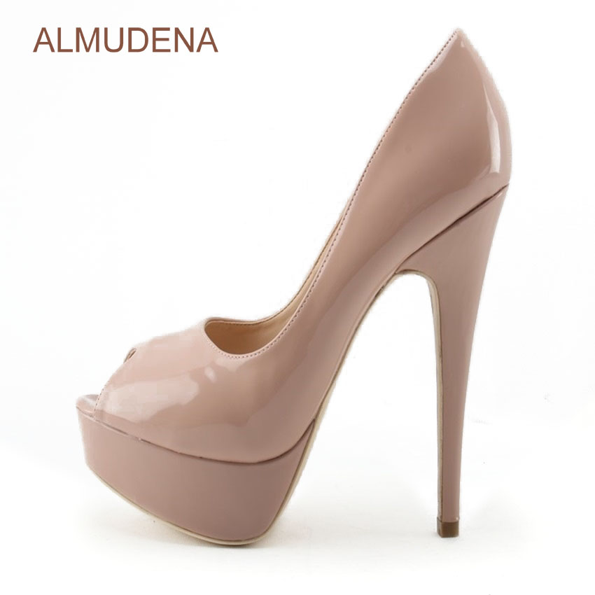 ALMUDENA High Heels Fashion Peep Toe Pumps Lady Sexy Open Toe Wedding Shoes High Quality Nude Black Patent Leather Platform Shoe black 8 inch ultra high heels peep toe shoes platform heels women fashion patent leather dress shoes sexy shoes