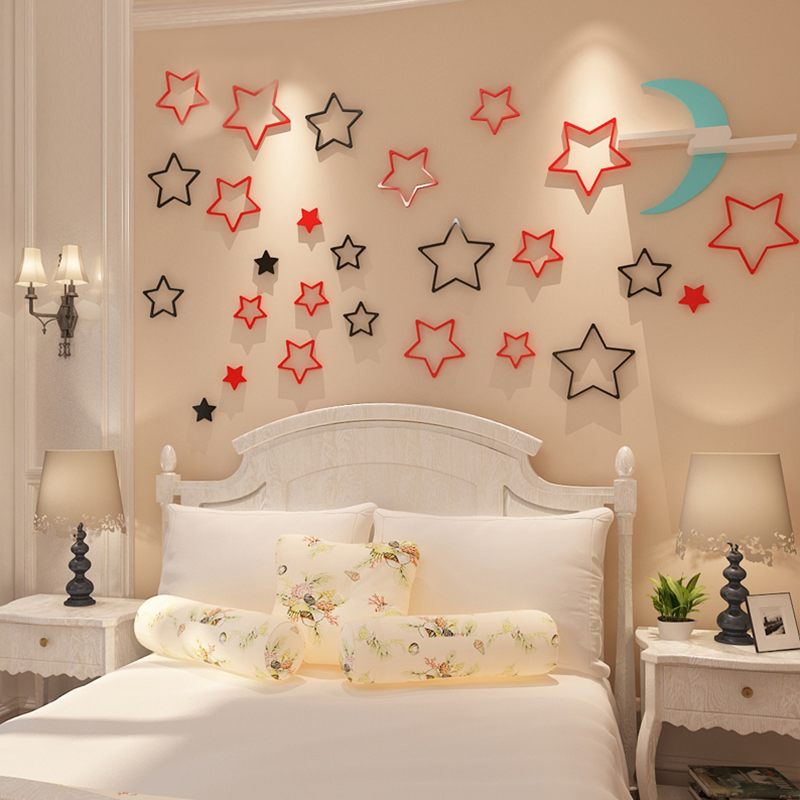 5pcs star 3d wooden wall stickers five pointed removable diy wall