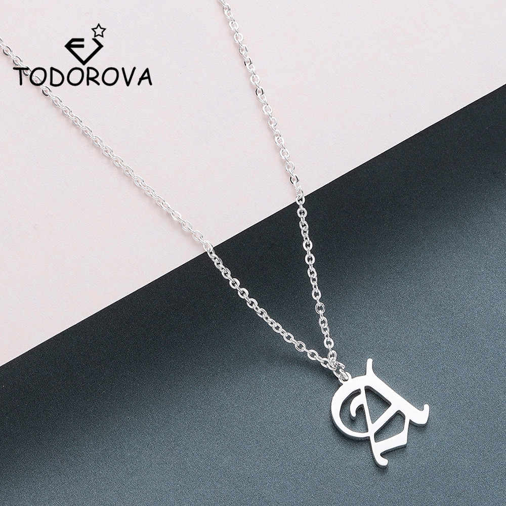 Todorova Old English Custom Capital Initial A-Z Letter Pendant Necklace Men Vintage Font Personalized Necklace Women Jewelry