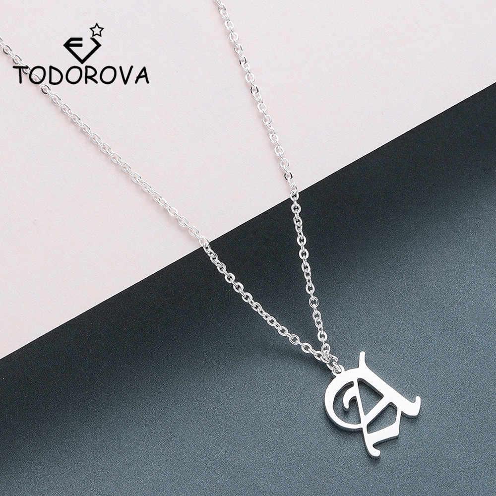 Todorova เก่า Custom Capital เริ่มต้น A-Z Letter จี้สร้อยคอผู้ชาย Vintage ตัวอักษรส่วนบุคคลสร้อยคอผู้หญิงเครื่องประดับ