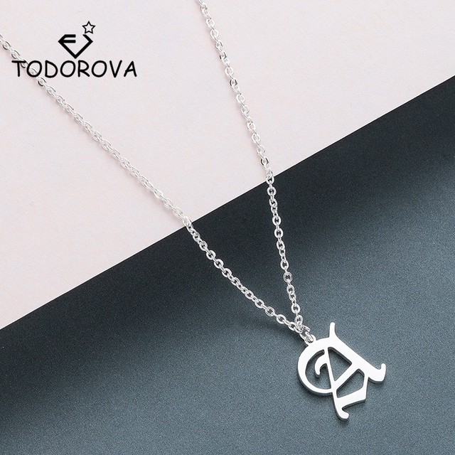 950933f7ebce Todorova Old English Custom Capital Initial A-Z Letter Pendant Necklace Men  Vintage Font Personalized Necklace Women Jewelry