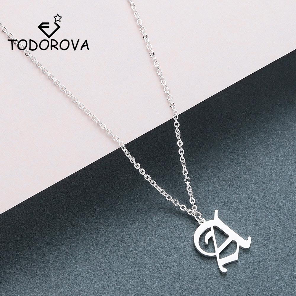 Todorova Old English Custom Capital Initial A-Z Letter Pendant Necklace Men Vintage <font><b>Font</b></font> Personalized Necklace Women Jewelry image