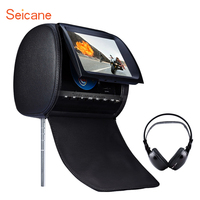 Seicane Popular High Quality Headrest DVD Player 9 inch 800*480 with FM Games and Zipper Cover (1 PCS) Car Kit