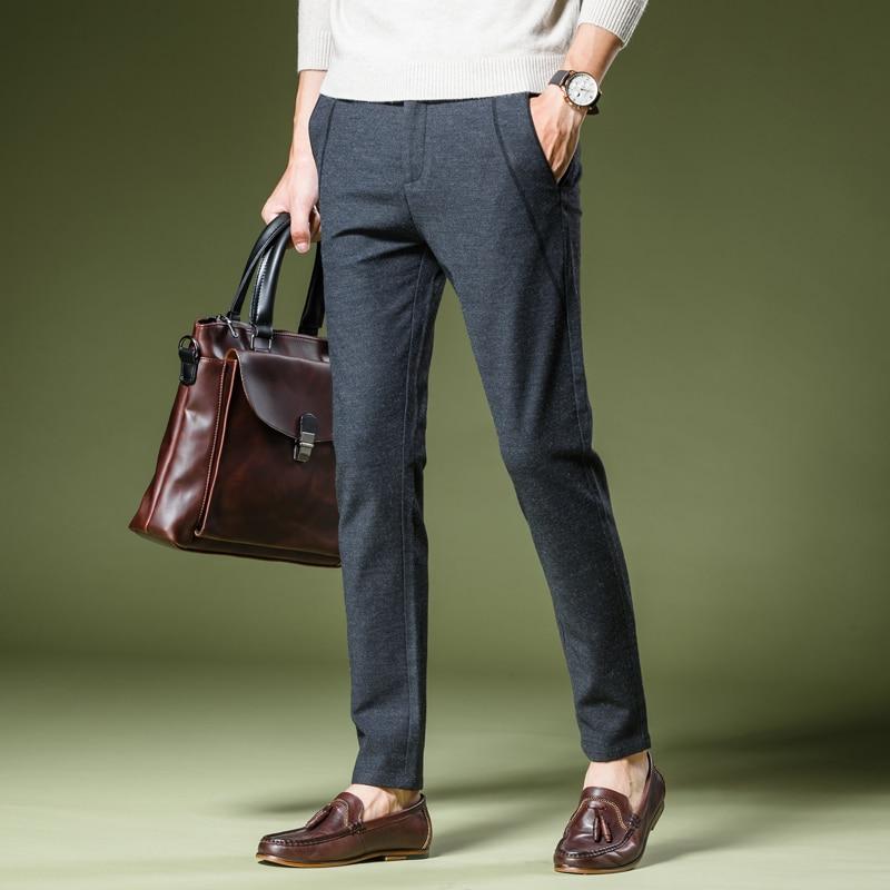 Small Elasticity Mens Pants black, grey 28 29 30 31 32 36 Fashion Business Hot Sales Men Casual Trousers Slim Comfortable Pop
