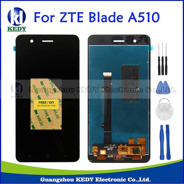 Preto original display lcd completa + touch screen digitador assembléia de reposição peças de reposição para zte blade a510 ba510 ba510c + ferramentas