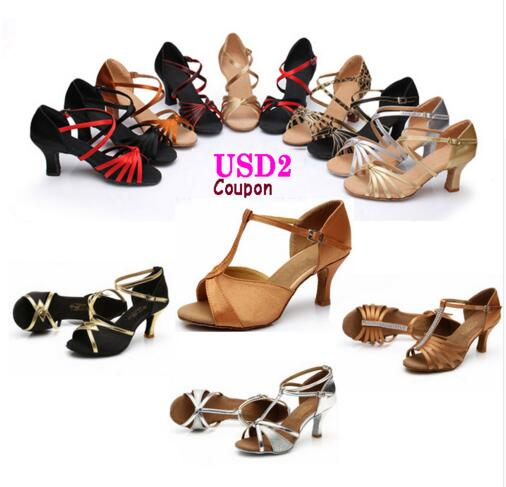 Free Shipping Ballroom Salsa Tango Latin Dance Shoes 7cm High Heels Dancing For Women Ladies Girls In Stock