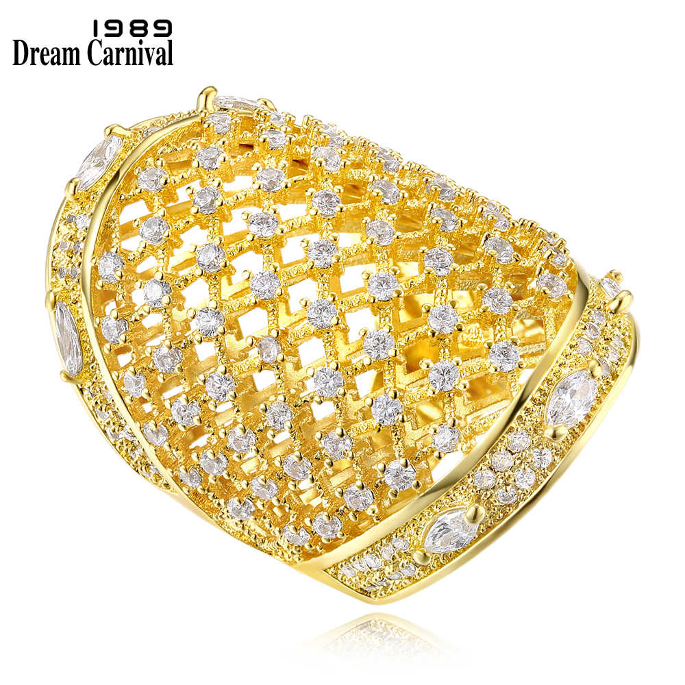DC1989 New Trend Luxury Macrame Rhodium or Gold Plated Simulated Cubic Zircon Copper Rings for women Size 5 to 10 SJ23038-D