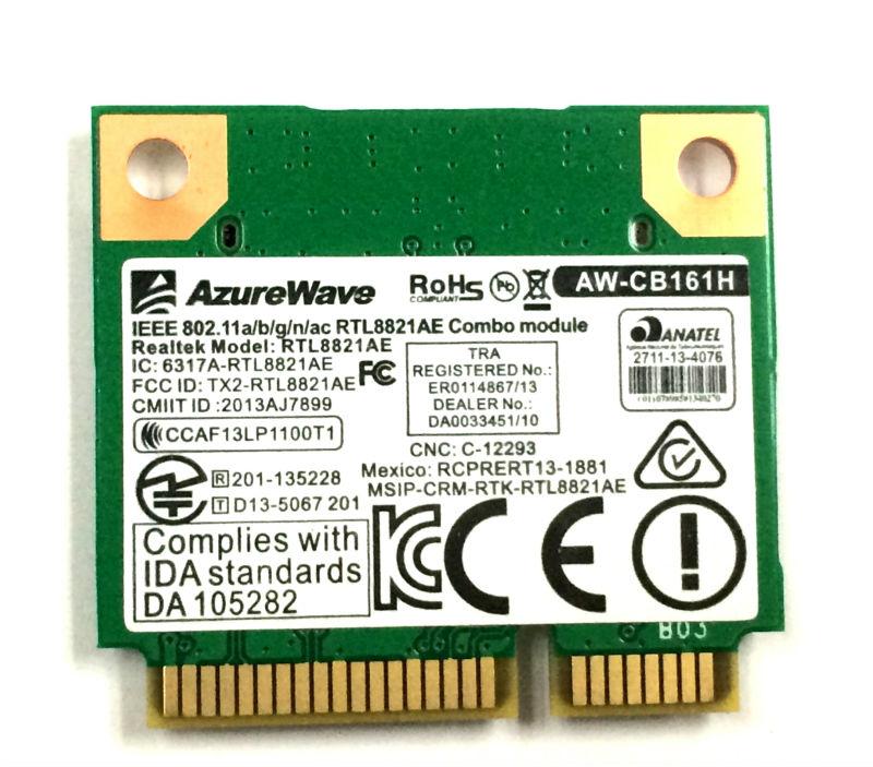 Azurewave AW-CB161N Wireless WiFi RTL8821AE 802.11a/b/g/n/ac WiFi 2.4/5.0 GHz Bluetooth 4.0 Combo Card Exceed Intel 3160