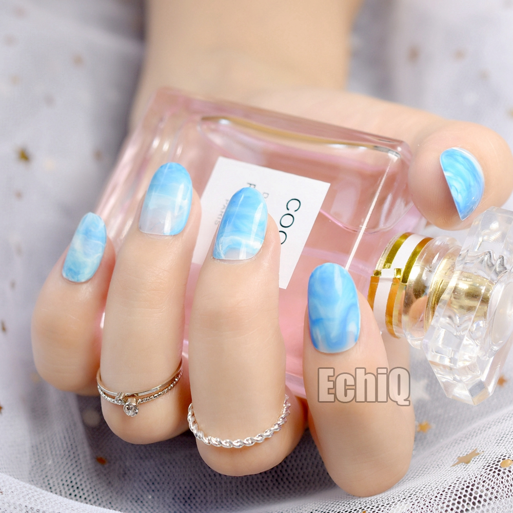 24pcs Blue Marble Acrylic Nail Design Kit Tips Shinning Surface Short Round  Finished False Nails Manicure Accessories Z728-in False Nails from Beauty  ... - 24pcs Blue Marble Acrylic Nail Design Kit Tips Shinning Surface