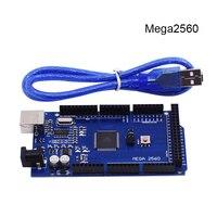 Free Shiping Mega 2560 R3 Mega2560 REV3 ATmega2560 16AU Board USB Cable Compatible Good Quality