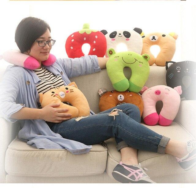 1 PC cómodo lindo Animal en forma de U almohada de viaje cojín de descanso para adultos niños dormir almohada fácil de tomar bien, 0592