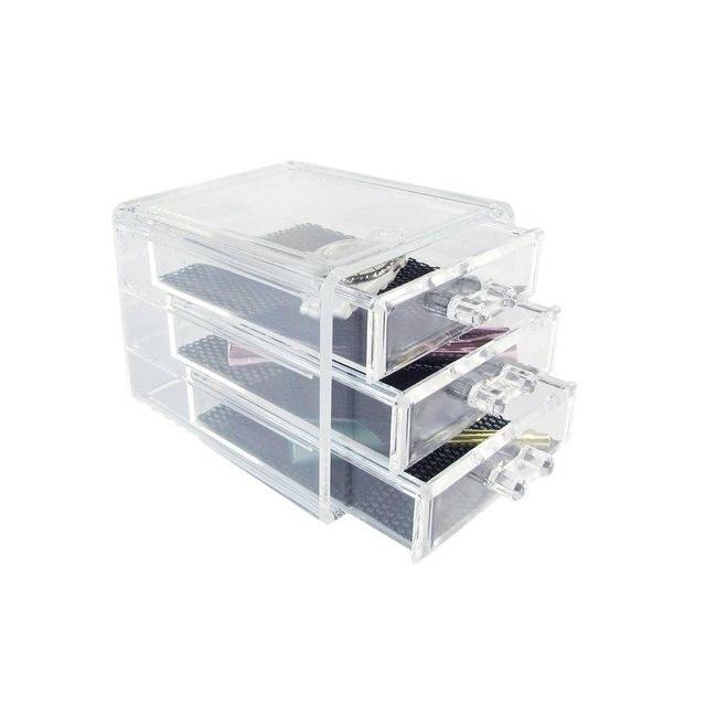 new 3 Drawer clear Acrylic Jewelry box Cosmetics Storage Display Box