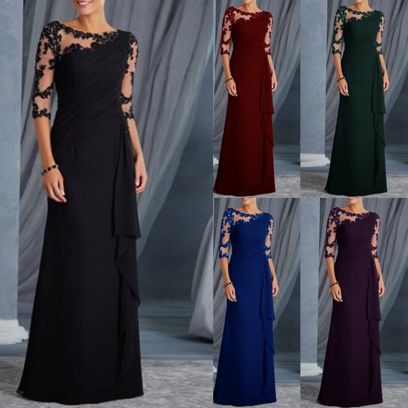 Women Dress Lace Half Sleeves Round Neck Slim Fit Female Formal Gown -MX8