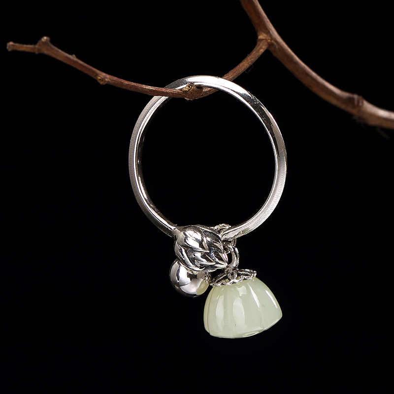 Один олень серебряный S925 чистого серебра и Тянь Ю. белый Нефритовый Цветок лотоса инкрустированные отверстия леди высокого класса джокер кольцо оптовая продажа
