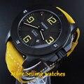 Мужские часы с автоматическим циферблатом 47 мм Parnis Black PVD